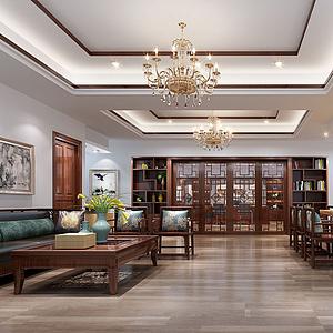 新中式休閑區辦公室模型