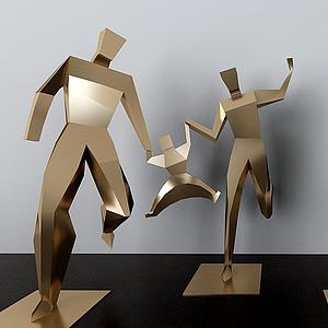 公園金屬人物雕塑擺件模型