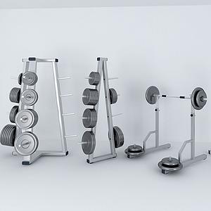 體育器材杠鈴架子模型