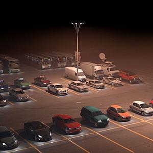 3d戶外汽車夜景實景模型