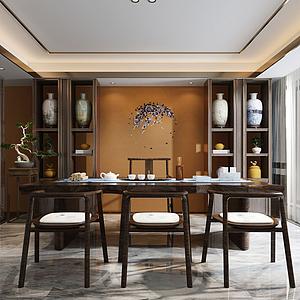 3d新中式茶室模型