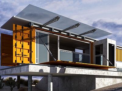 3d集裝箱別墅模型