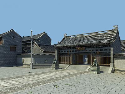 3d古建廊亭大殿街道模型