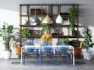 餐桌椅木制置物架組合模型