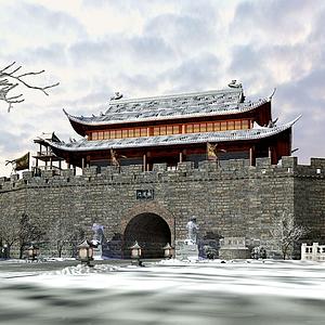 3d古建筑城墻模型