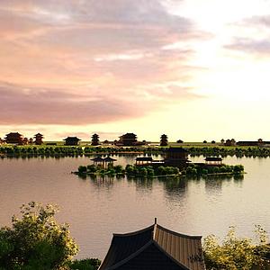 3d湖面景觀房子樹模型