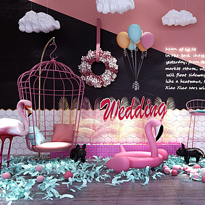 3d裝飾墻<font class='myIsRed'>火烈鳥</font>氣球泡泡模型