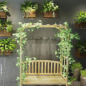 戶外盆栽植物秋千組合模型