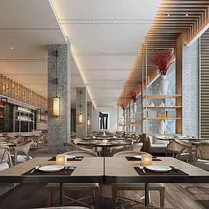餐厅餐饮美食城模型