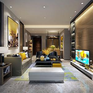 3d黃色主調客廳餐廳模型