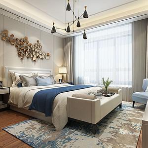 现代卧室床茶几3d模型