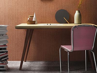 3d北歐<font class='myIsRed'>書</font>桌椅模型