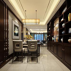 3d中国风主题客厅模型