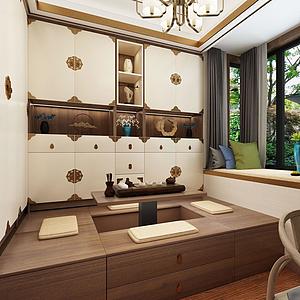 新中式榻榻米卧室模型