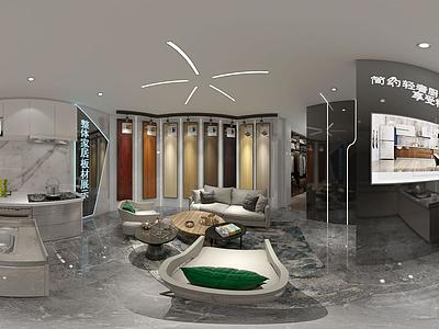 3d簡約綠植展廳展柜模型