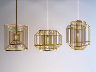 3d<font class='myIsRed'>新中式</font>絲竹吊燈模型