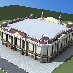 3d歐式建筑商場模型
