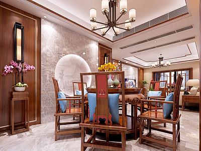 3d典型中式客廳餐廳茶座模型