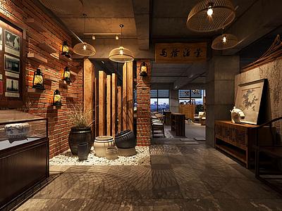 古式木質家具組合辦公室3d模型