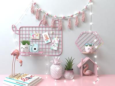 3d粉紅置物架墻飾模型