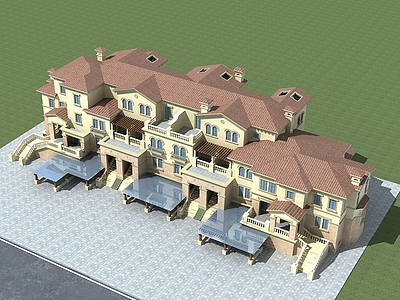 3d歐式聯排別墅模型