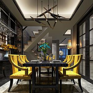 3d黑黃色鮮明主題特色餐廳模型