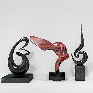 現代雕塑四組擺件模型