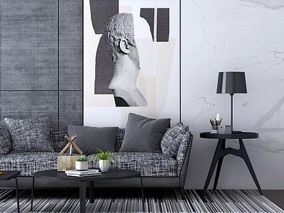 3d簡約沙發茶幾人物壁畫模型