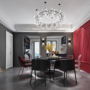 3d现代中国风红墙黑桌餐厅模型