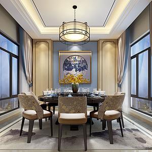 3d簡約素花紋餐椅餐桌模型
