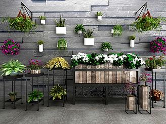 3d現代盆栽綠植鐵藝花架模型