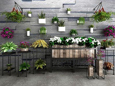 現代盆栽綠植鐵藝花架模型3d模型