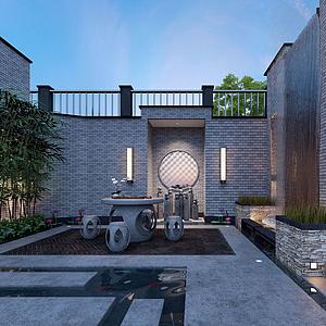 中式坐落庭院茶屋模型