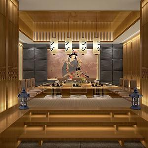 3d日式风格餐厅包间模型