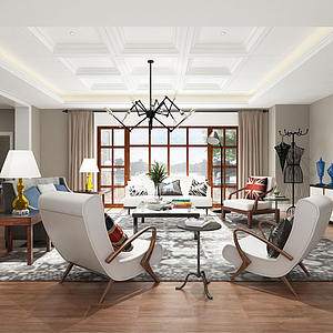 現代客廳模型