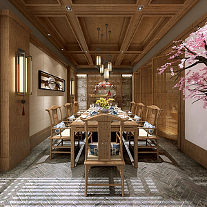 3d日式餐厅包间模型