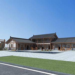 3d中式建筑庭院院落模型