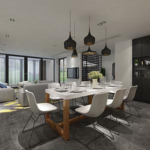 3d现代客厅空间模型