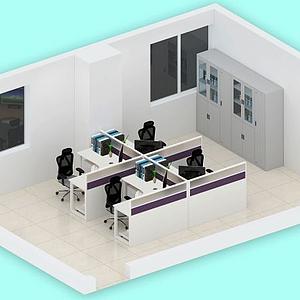 3d辦公室簡約布局模型