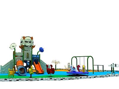 3d機器人滑梯兒童樂園模型