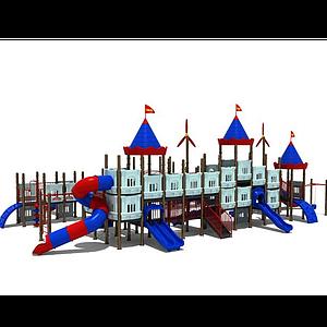 3d大型城堡<font class='myIsRed'>滑梯</font>兒童游樂設施模型
