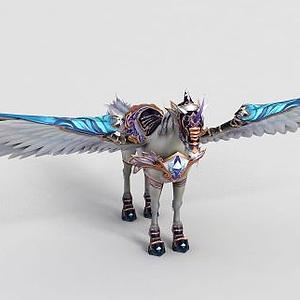 游戲道具白馬飛馬模型