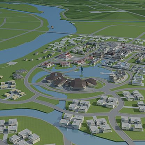 3d現代<font class='myIsRed'>城市</font>規劃鳥瞰模型