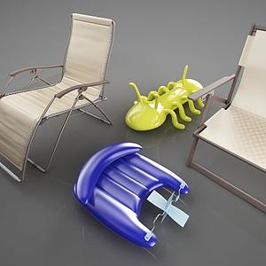 戶外沙灘椅模型