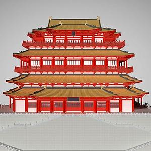 3d中國<font class='myIsRed'>古建筑</font>寺廟廟宇模型