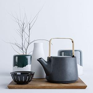 现代北欧茶壶摆件组合模型