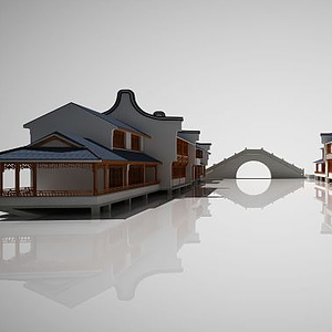 3d中国<font class='myIsRed'>古建筑</font>街道茶楼建筑模型