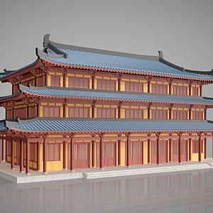 3d中國傳統<font class='myIsRed'>古建筑</font>建筑外觀模型