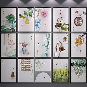 新中式装饰画挂画模型