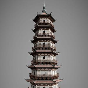 3d中国<font class='myIsRed'>古建筑</font>古建塔楼模型
